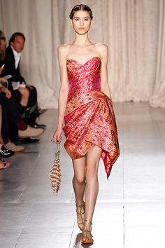 Fun Sarong Style Red Short Dress by Marchesa Spring 2013 — Runway Photo Gallery — Vogue