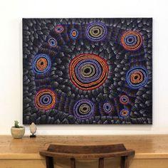 Debbie Napaljarri Brown, Wanakiji Jukurrpa (Bush Tomato Dreaming), 91x76cm