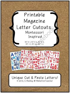 Printable Magazine Letters, Red and Blue, Montessori Inspired: Literacy Centers from MamaVonTeacher on TeachersNotebook.com (7 pages)