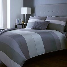J by Jasper Conran Grey striped 'Warwick' bed linen- | Debenhams
