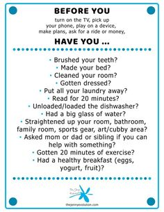 This Poster Should Be Hanging in Every Kid's Home! POSTER - NO ELECTRONICS BEFORE. Get kids away from those screens and interacting with the world! save your sanity. This poster should be hanging in every kid's house! - New Ideas Rules For Kids, Chores For Kids, Activities For Kids, Parenting Advice, Kids And Parenting, Single Parenting, Chore Chart Kids, Weekly Chore Charts, Kids Schedule