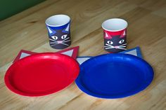 Red and blue plates and cups are turned into Pete the Cat esque kitties, with some cardstock and glue.