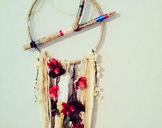 Unique Dreamcatcher, Boho chic Dreamcatcher, Bohemian Dreamcatcher, Color string wrapped branch base, Boho Decor, Large Size