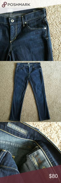 """COH Ava low rise straight leg jeans 29 Citizens of Humanity Ava low rise straight leg in Faith dark wash. Slight whiskering. Slight distressing on edges of pockets. 29"""" inseam. Like new with no signs of wear. Citizens of Humanity Jeans Straight Leg"""