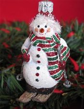 Patricia Breen TELLURIDE SNOWMAN Ornament  Can Stand-Alone Glittered Snowy Skier..