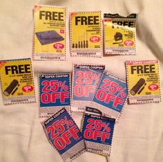 Lot of 5 25% off One Item Plus 5 Freebie Harbor Freight Coupons