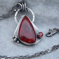 Red Jasper and Garnet Silver Necklace Sterling Silver