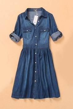 Half Sleeve Denim Dress with Buttons by Persun