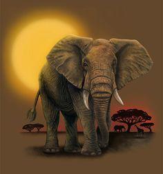Afrikanische Elefanten Malerei-Print von IllustrationsByAmy auf Etsy