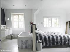 1000 images about salle de bain ouverte sur chambre on - Chambre avec salle de bain ouverte ...