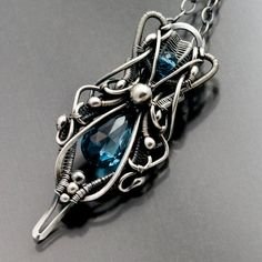 London Blue Topaz (December Birthstone) and Woven Fine Silver Necklace - Nadia BY Sarah Thompson Metal Jewelry, Jewelry Art, Jewelry Accessories, Fashion Jewelry, Jewelry Design, Unique Jewelry, London Blue Topaz, Handcrafted Jewelry, Bling