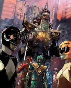 The Power Rangers with Dragon Zord