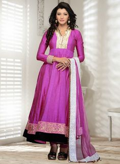 Purple Colored Anarkali Suit  Check out this page now :-http://www.ethnicwholesaler.com/salwar-kameez