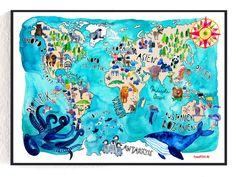 Illustrationen - Weltkarte - ein Designerstück von Frau-Ottilie bei DaWanda