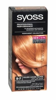 Syoss Professional Permanent Hair Colour 8-7 Golden Caramel Blonde Co-developed and tested by hairdressers and colorists. Professional grey coverage. Syoss, the permamnent coloration in professional quality for home usage - with color pigment mix and nutri complex. Contains caring color cream, application bottle with developer milk, sachet with color-seal conditioner, instruction leaflet and gloves. Syoss golden caramel blonde is recommended for light and medium blonde hair.