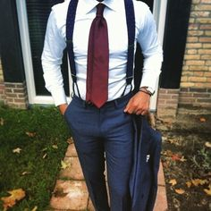 56 New Ideas For Wedding Suits Men Suspenders Bridesmaid Dresses Suspenders Outfit, Groom Outfit, Men Suspenders, Groom Attire, Mens Fashion Suits, Mens Suits, Groomsmen Suits, Gentleman Style, Wedding Suits