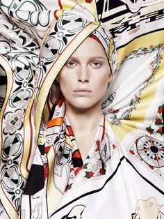 Iselin Steiro Models Hermès Printed Scarves for Spring 14 Catalogue