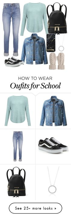 """School outfit"" by alexgonzalez-2 on Polyvore featuring Yves Saint Laurent, JDY, LE3NO, Vans, MICHAEL Michael Kors and Mint Velvet"