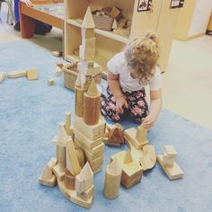 """I'm building Anna and Elsa's Castle Mrs A!"" There is something about the plain wooden blocks that I love so dearly. #ctinquiry #iteachkindergarten #earlylearning #reggioinspiredteachers #reggioinspired"