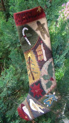 Primitive Folk Art Wool Applique Pattern Crazy by PrimFolkArtShop Christmas Stocking Pattern, Christmas Sewing, Noel Christmas, Christmas Crafts, Christmas Applique, Primitive Christmas Patterns, Christmas Girls, Burlap Christmas, Christmas Decorations