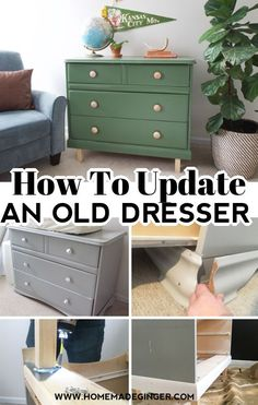 Learn how to update an old dresser with paint and new legs. This DIY dresser makeover before and after is inspiring. Try it in your own space!