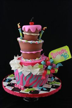 Sweet 16 cake for Cake Central Magazine by Andrea's SweetCakes, via