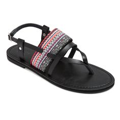 Women's Sonora Thong Sandals - Mossimo Supply Co. Black/Coral 5.5, Black/Pink