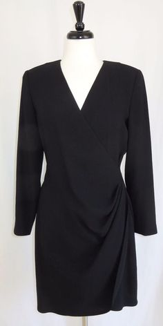 Linda Allard Ellen Tracy Little Black Dress Long Sleeve Ruched Side V-Neck 6 #EllenTracy #Sheath #LittleBlackDress
