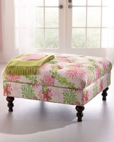 Love this Lilly Pulitzer tufted ottoman!
