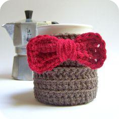 Coffee Mug Tea Cup Cozy Eleventh Doctor red bow tie sci fi crochet handmade. $16.00