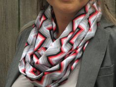 Infinity scarf Chevron zigzag pink gray white stripes scarf - circle scarf loop scarf gift idea for her on Etsy, $15.00