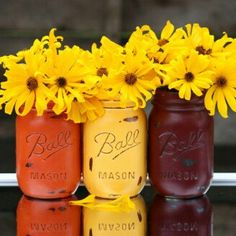 My set of three fall colored Mason jars are now on sale for $15.00, marked down from $18.50! These are a perfect center piece for your fall themed table, so get yours now before they are gone! *Also available in custom colors.