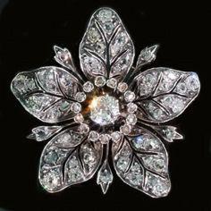 European Cut Diamonds Flower Brooch & Pendant