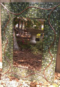 Green Mosaic Mirror with Copper Wire by PeacedTogetherGlass, $225.00