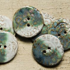Large Ceramic Blue and Green 6 Button Set Flower by MicheleClagett