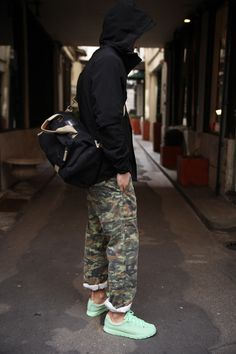 Men's Black Windbreaker, Olive Camouflage Chinos, Mint Athletic Shoes, Black…