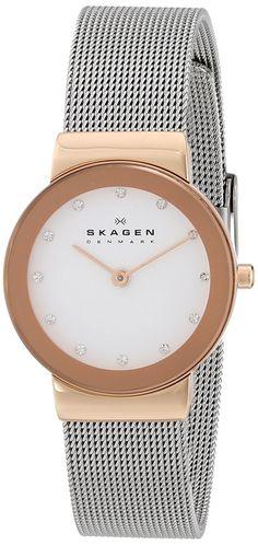 Amazon.com: Skagen Women's 358SRSC Freja Quartz 2 Hand Stainless Steel Silver Watch: Skagen: Clothing