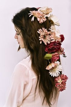 I like flowers in hair, but isn't this a bit much?