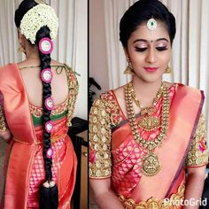 New Blouse Designs Indian Bridal Front 35 Ideas New Blouse Designs, Bridal Blouse Designs, Saree Hairstyles, Bride Hairstyles, Indian Wedding Jewelry, Bridal Jewellery, Temple Jewellery, Antique Jewellery, Indian Weddings