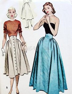 1950s Unique High Waist Skirt Pattern