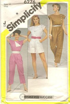 19c846f6539e 1980s Simplicity Jumpsuit   Romper Sewing Pattern 6276 Size 10