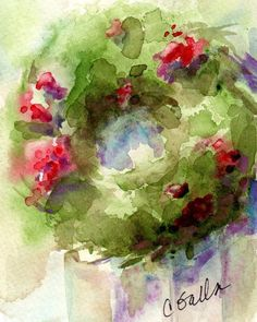 Christmas Wall Art Wreath Print with Free Shipping from an Original Watercolor…