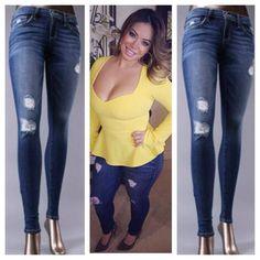 4d2160055790 Distressed Medium Wash Skinny Jeans Chiquis rivera