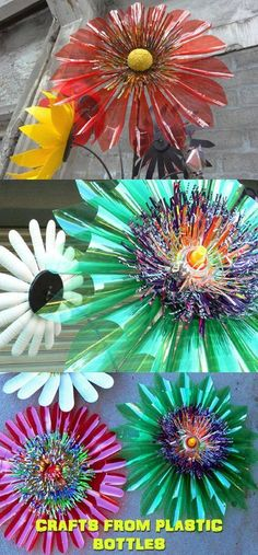 Recycled Plastic Bottles - Recycle plastic bottles can turn into anything, including crafts. Instead of letting plastic bottles inside the trash can Reuse Plastic Bottles, Plastic Bottle Flowers, Plastic Bottle Crafts, Recycled Bottles, Plastic Art, Upcycled Crafts, Recycled Art, Recycled Furniture, Soda Bottle Crafts