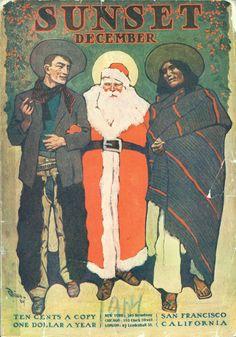 Vintage Christmas Sunset magazine cover, 1904 by Maynard Dixon.