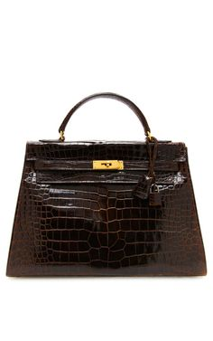 Hermes 32Cm Marron Fonce Crocodile Sellier Kelly on Moda Operandi