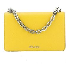 Prada Yellow Saffiano Chain Shoulder Bag (new With Tags) (9.360 DKK) ❤ liked on Polyvore featuring bags, handbags, shoulder bags, chain strap shoulder bag, chain strap purse, chain handle handbags, prada and chain strap handbags