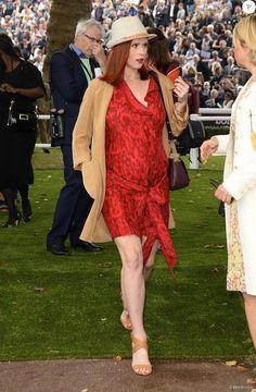 Audrey Fleurot Pregnant but always stunning Prix de l'Arc de Triomphe Longchamps  Oct 4 2015