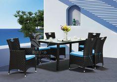 Mesa de jardín de ratán sintético, Al aire libre jardín set