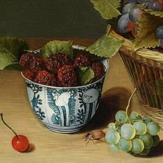 Isaac Soreau Still Life with Grapes in a Basket, detail century. CERAMICS : the deep bowl is Kraakware, Wanli period Green Fruit, New Fruit, Fruit And Veg, Fruits And Vegetables, Salads For Kids, Fruit Packaging, Still Life Fruit, Fruit Diet, Fruit Decorations